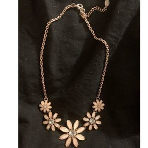 Icing light coral/pink flower statement necklace